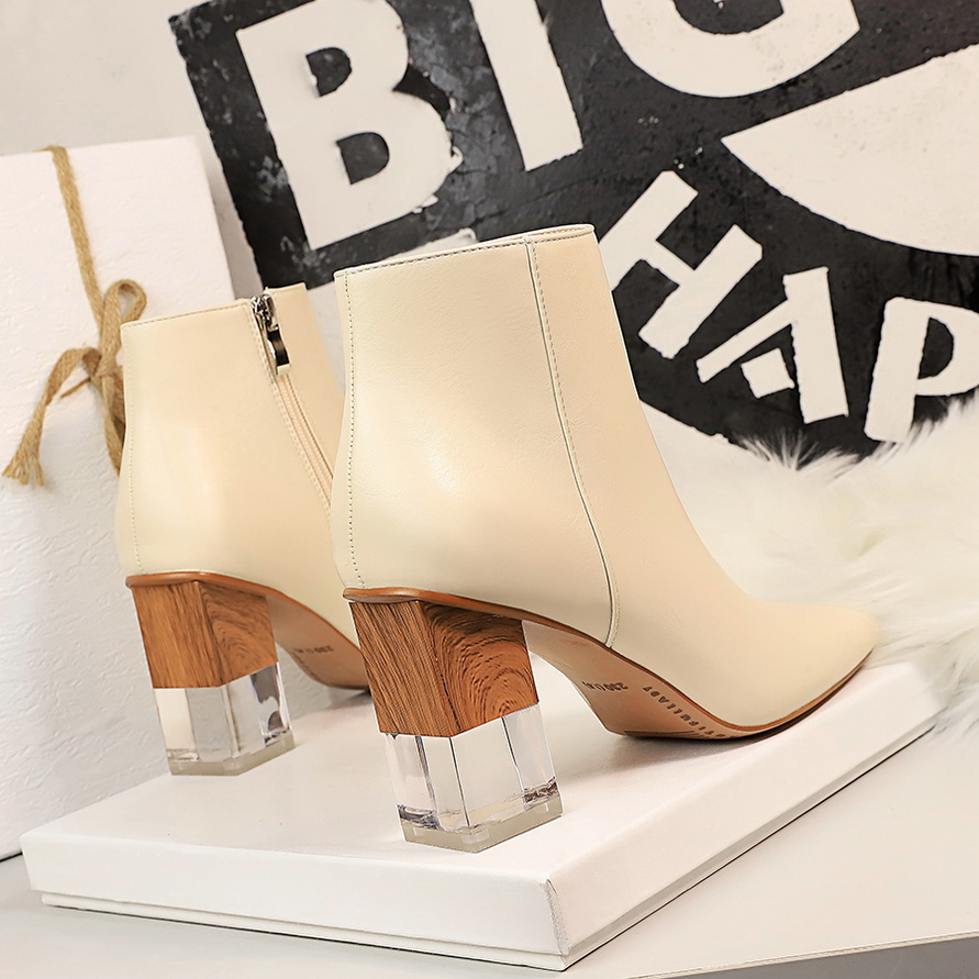 Ankle Boots For Women PU Shoes Clear heels Ladies Rain Boots Women Square Heel Brown Boots Woman Ankle Shoes Rubber Autumn Shoes