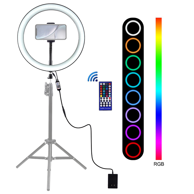 12 inch LED Ring Light Photography Studio Video Light Dimmable RGB LED Selfie Light with Phone Clamp for Youtube Vlog Live Video image