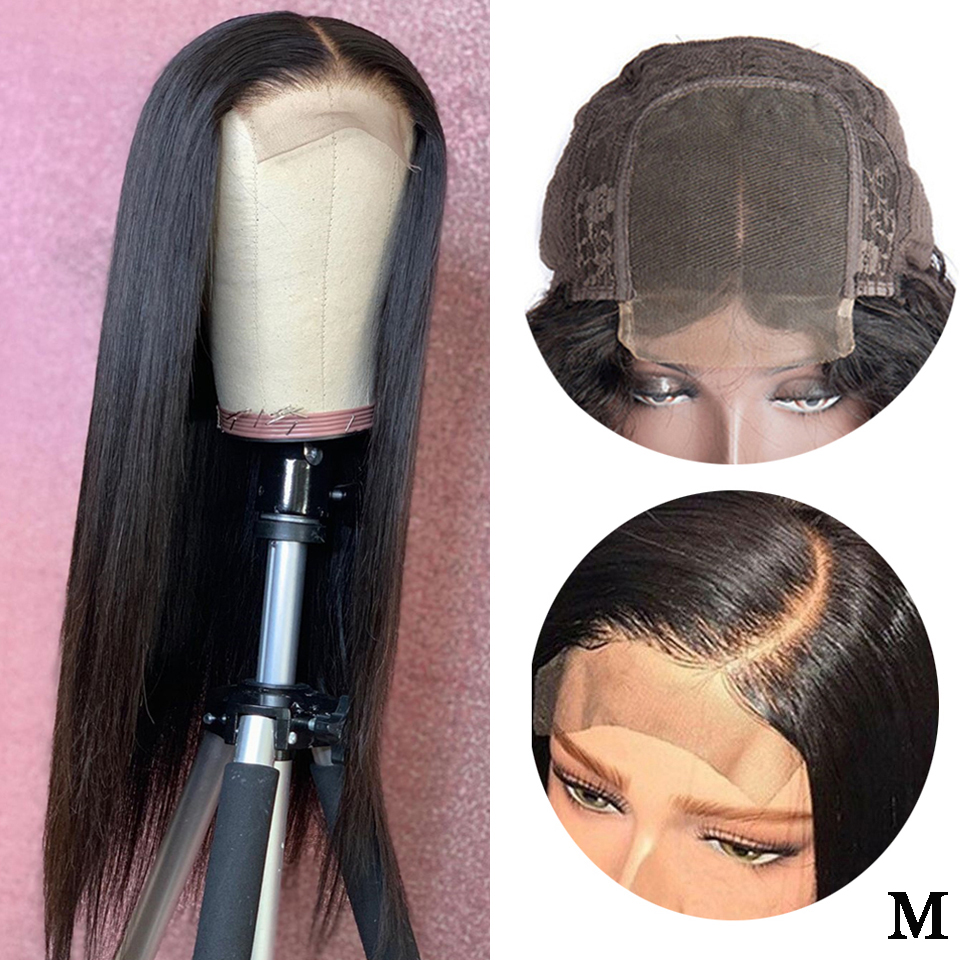 Brazilian Wig 4x4 Straight Lace Closure Wig Human Hair Wigs Pre-Plucked With Baby Hair 150% Density Remy Lace Wigs Middle Ratio