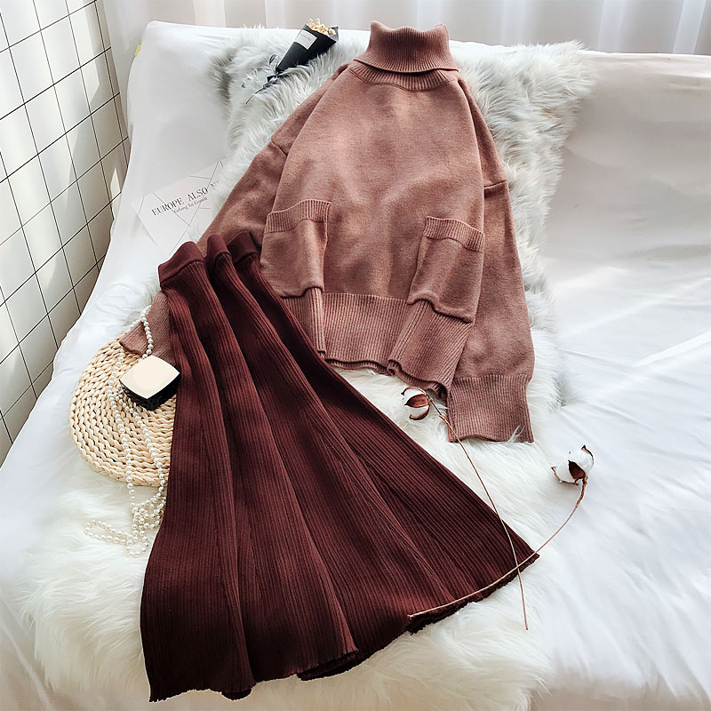Winter New 2019 Women 2 Pieces Skirts Sets Turtleneck Knitted Sweater And A-line Loose Skirts Lady Female Thicken Warm Dress Set