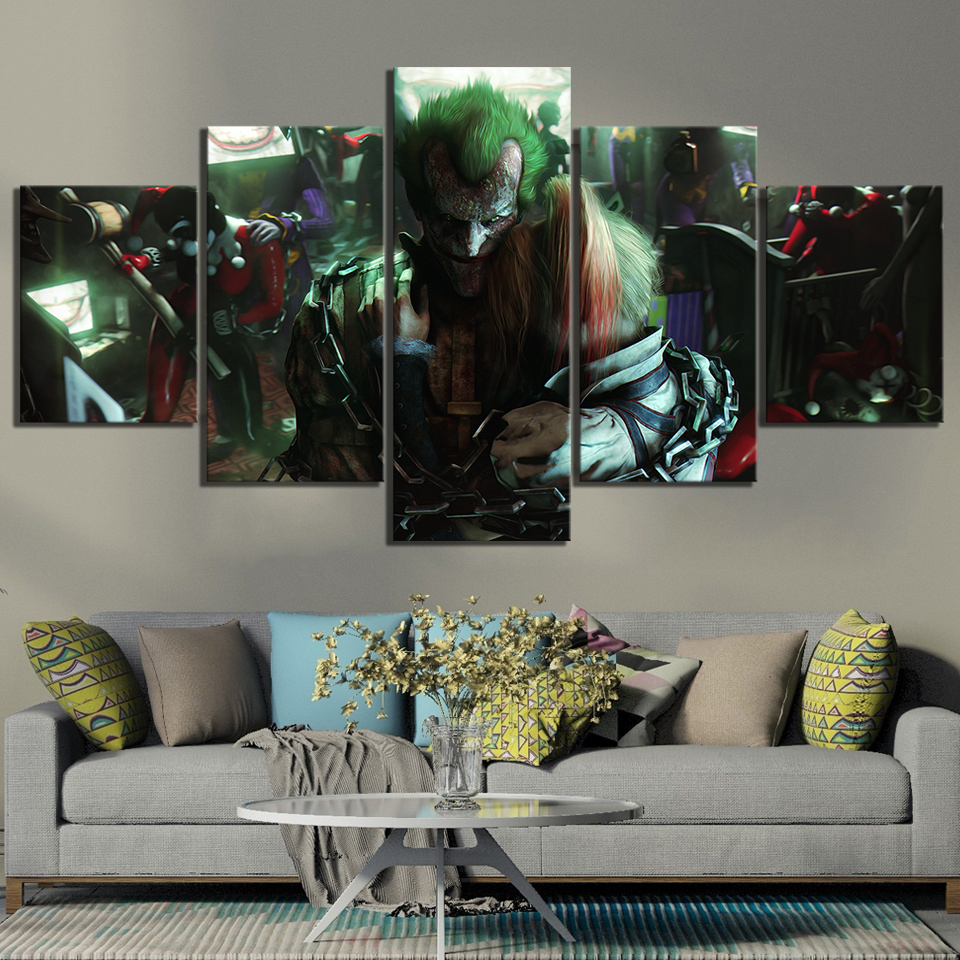 5 Piece HD Fan Art Canvas Paintings Batman Arkham Knight Video Game Poster Paintings Joker Picture Wall Art Paintings image