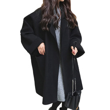 Autumn /winter Coat Women Solid Turn-down Collar Open Stitch Loose Casual Thicken Female Lady Woolen Camel Clothes