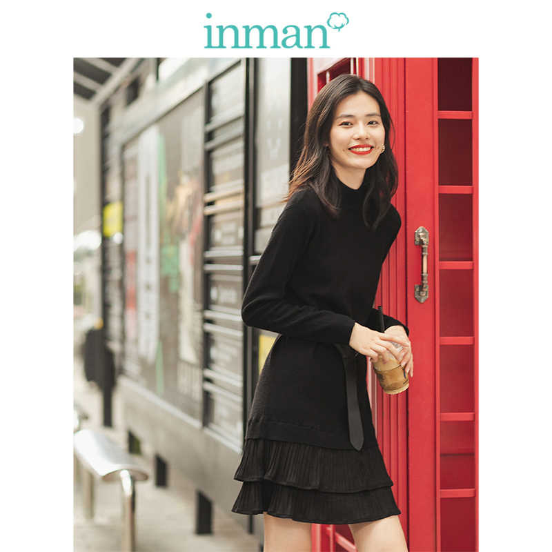 INMAN 2019 Autumn Winter New Arrival Elegant Little Round Collar Contrast Embroidery A-line Light Purple Women Dress