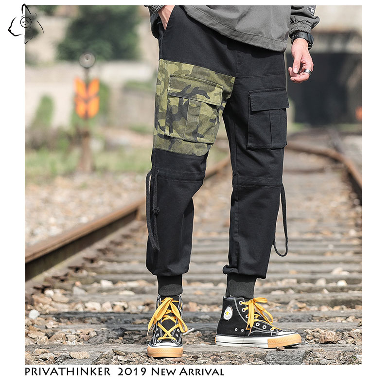 Privathinker Men Casual Patchwork Cargo Pants 2019 Mens Autumn Streetwear Joggers Korean Loose Male Camouflage Trousers Oversize