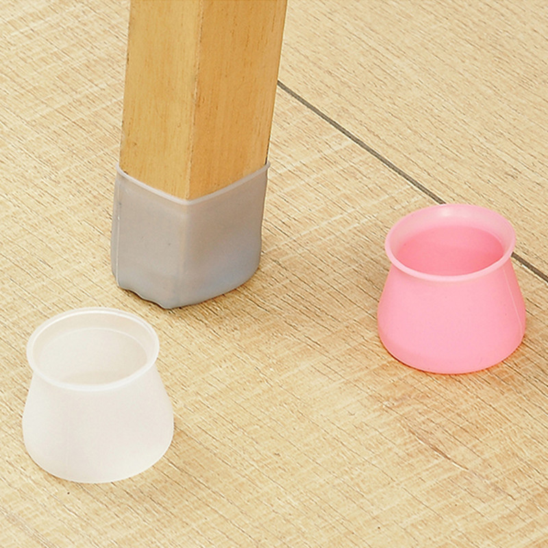 Round Square Silicone Chair Leg Caps Non-slip Table Foot Dust Cover Socks Floor Protector Pads Pipe Plug Furniture Leveling Feet