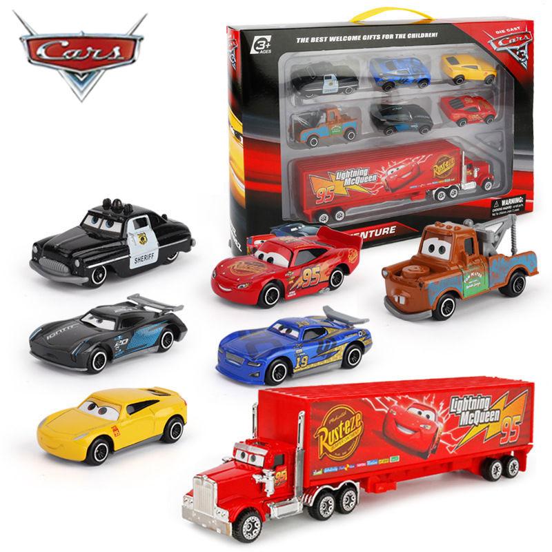 7 Pçs/set Disney Pixar Carro 3 Tempestade Relâmpago McQueen Jackson Tio Mack Truck 1:55 Diecast Metal Modelo de Carro de Brinquedo Menino de Presente de Natal|Carrinhos de brinquedo e de metal|   -
