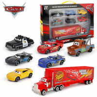 Disney- Set de coches de la película Cars para niño, juego de 7 unidades de coches de carrera, Rayo Mcqueen, Jackson, Storm, Mack, Tío truck 1:55, juguete de coche de metal fundido a presión