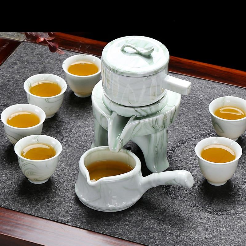 High grade Marble stripes Tea set stone grinding semi automatic Tea Set Kung Fu tea pot cup.Creative Tea ceremony supplies|Teaware Sets| |  -