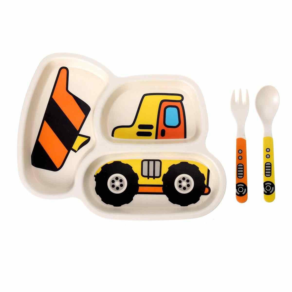 3 ชิ้น/เซ็ต Baby Feeding ชามจานช้อนส้อมการ์ตูนรถเด็กไม้ไผ่เส้นใยการ์ตูนแยกแผ่นให้อาหาร