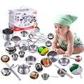 25Pcs Edelstahl Kinder Haus Küche Spielzeug Kochen Kochgeschirr Kinder Pretend Play Küche Spielset-Silber Figuren