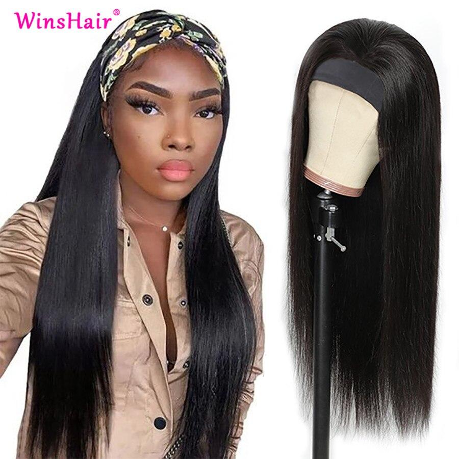 Winshair прямые волосы парик с головной повязкой, натуральные бразильские волосы, волосы 100% парики из натуральных волос на кружевной Одежда выс...