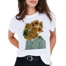 Harajuku Van gogh t shirt Women Goghing Gone T-shirt oversized tee Tops Funny Famous Art Sunflowers Painting t-shirt Femme