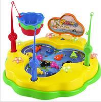 Go fishing rotate Toys Suit Child Alpinia magnetic Electric children Music ocean