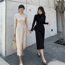 Korean Style Sweater Dress Winter Fashion 2019 New Buttons Turtleneck Long Sleeve Elegant Midi Pleated Knit Dresses Black