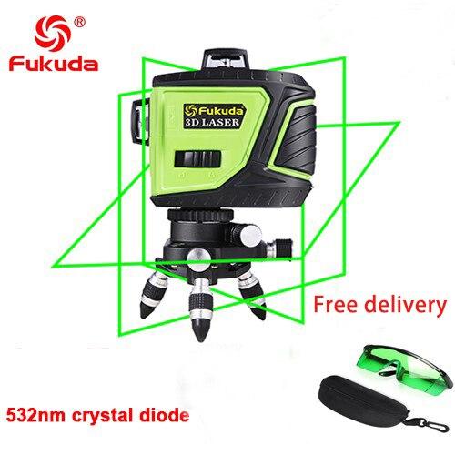 Фукуда бренд 12 линии 3D MW-93T-3GX лазерный уровень наливные 360 горизонтальный и вертикальный крест супер мощный зеленый лазер луч линии - Цвет: 3GJ 532nm green 1
