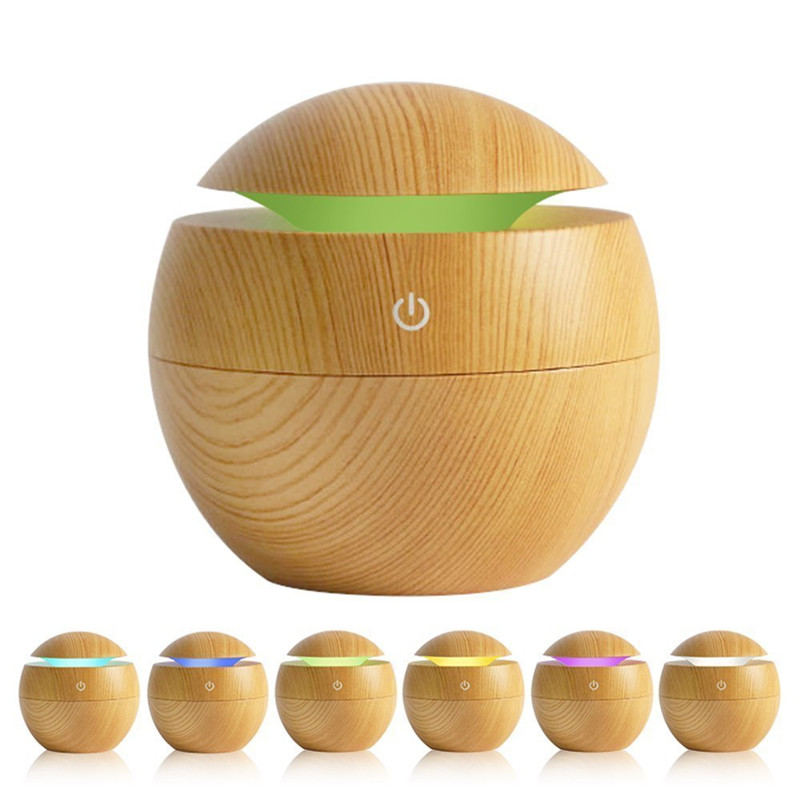 USB Aroma Air Humidifier Essential Oil Diffuser Wood Grain Ultrasonic Cool Mist Maker 7 Color Change LED light for Home Car