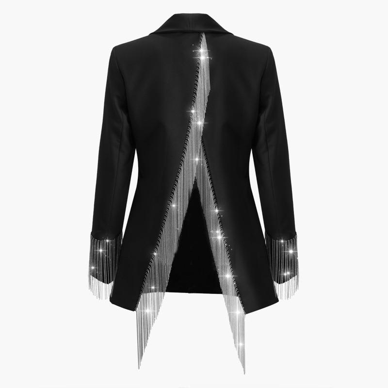 OMIKRON nouveau 2019 concepteur irrégulière Blazer femmes col boutons Double boutonnage métal boutons dos gland Blazer vêtements chauds