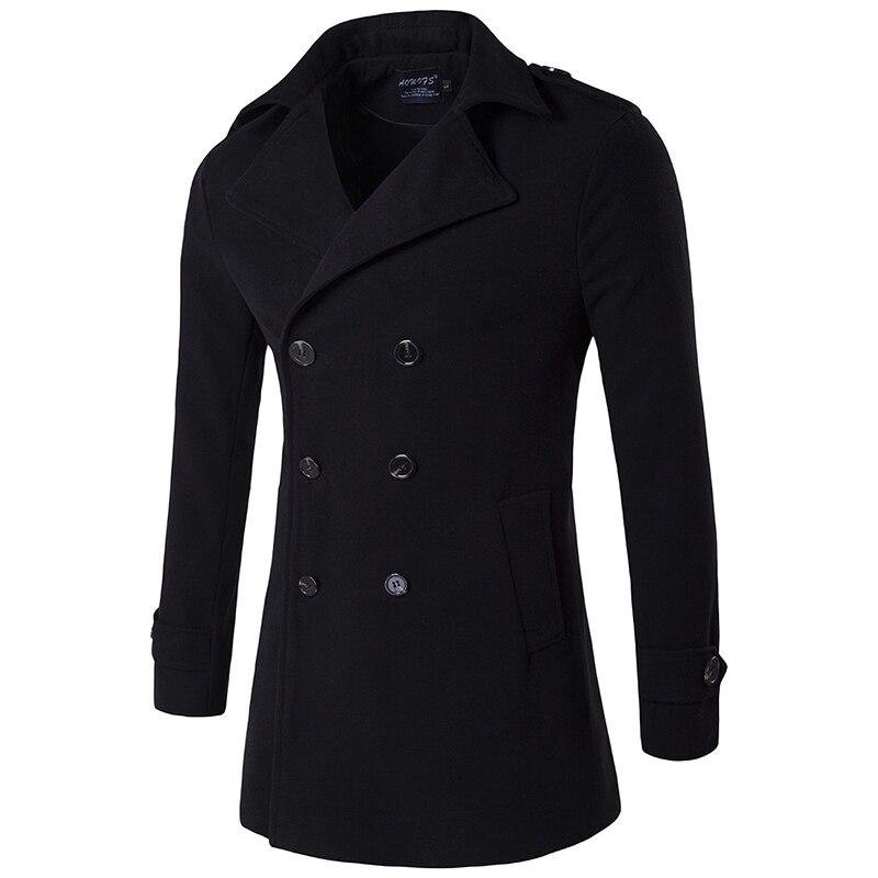 2020 New Brand Men's Wool Coat Autumn Winter Casual Thicken Coats Double Breasted Woolen Coat Men Windbreaker Jacket 4XL
