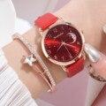 Часы наручные женские с ремешком и циферблатом, модные элегантные минималистичные, всесезонные, с держателем, подарок на день рождения