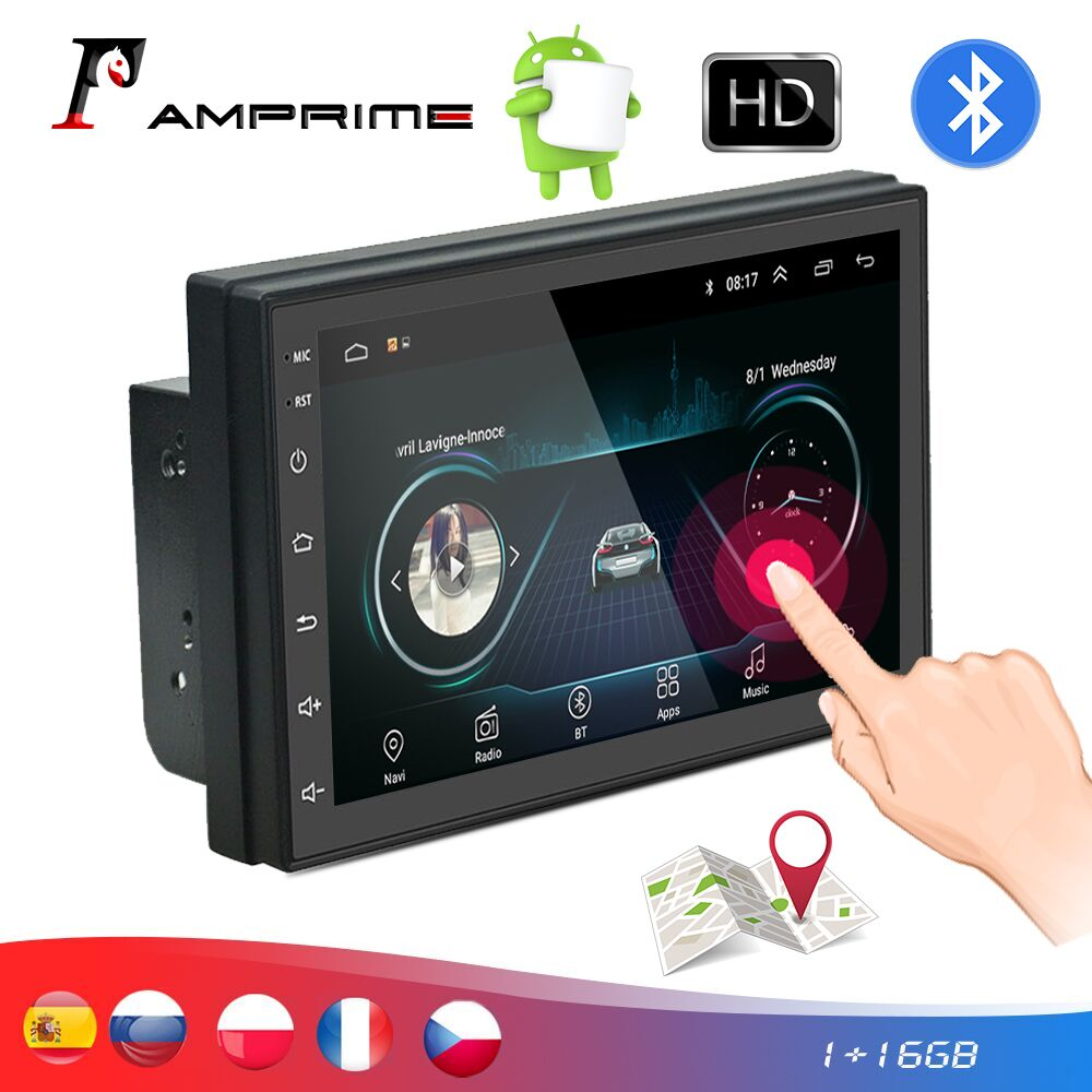 AMPrime 2din Car Radio Android 7'' Touch Screen Car Multimedia MP5 Player With Bluetooth WIFI GPS FM Universal 2din Autoradio