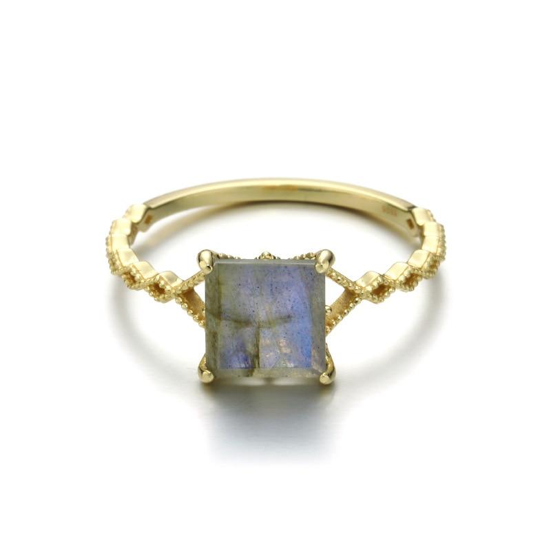 Rétro carré arc-en-ciel Labradorite bague en argent Sterling 925 minimaliste bague pour femmes or Vermeil Antique bijoux bague de fiançailles