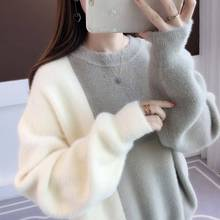 Autumn Winter Women Knitted Korean  casual  ladies pure cashmere sweater short sweater loose knit bottoming shirt