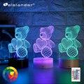 Новейший детский ночник, 3D светодиодный Ночной светильник, креативный Настольный прикроватный светильник, романтический светильник с медв...