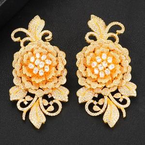 Image 4 - missvikki Nigerian Wedding Naija Bride Charm Rose Flower Leaf Luxury Women Cubic Zirconia Necklace Dubai 4PCS Dress Jewelry Set