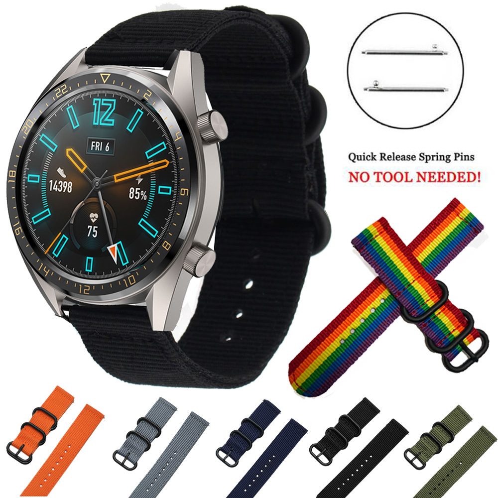 For HUAWEI WATCH GT GT2 46mm Woven Nylon Watch Sport Strap Band Replacement 22mm Watch band Canvas Fabric band GT Active Elegant