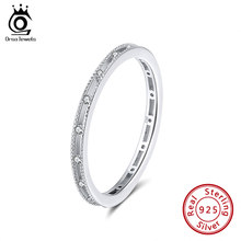 ORSA JEWELS 925 Sterling Silver Rings For women AAAA Cubic Zircon Female Rhodium Plated Wedding Ring Fashion Party Jewelry SR162(China)