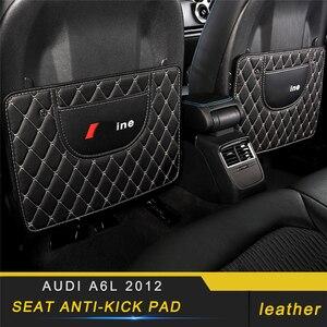 Защитный чехол на заднее сиденье для Audi A6 C7 2011-2019, кожаный коврик с защитой от удара, подушка, аксессуары для интерьера
