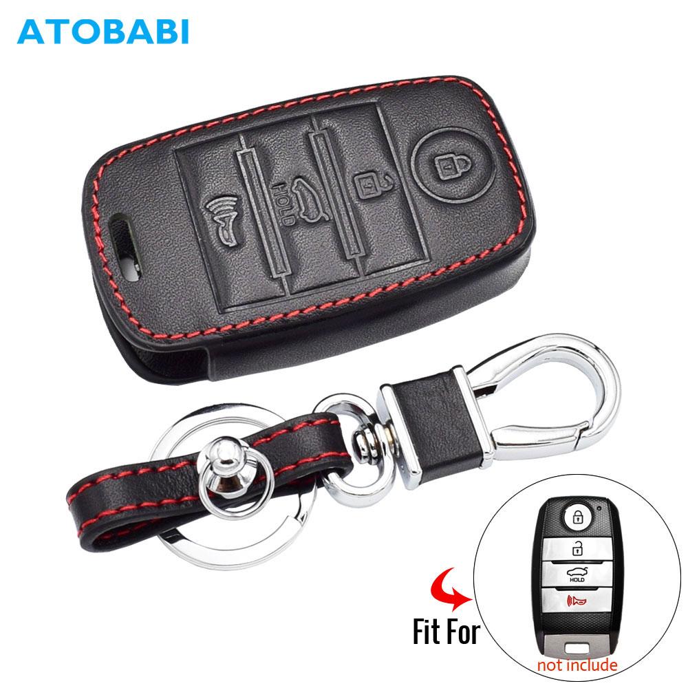 Leather Car Key Case For Kia Sorento Optima Forte Niro Soul Sedona 4 Button Smart Remote Fob Protector Cover Keychain Holder Bag