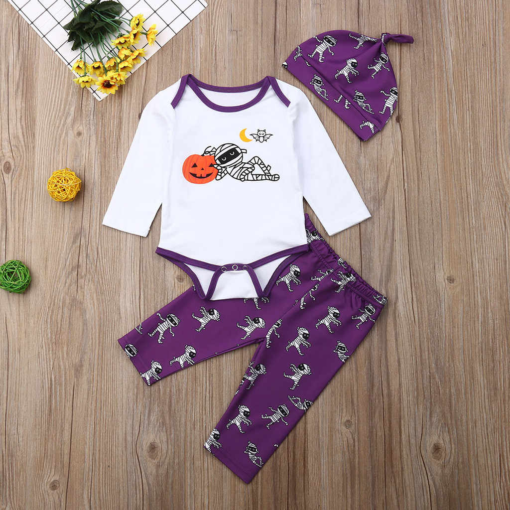 3PCS Newborn Infant Baby Boys Girls Halloween Romper Tops Pants Hat Clothes Set