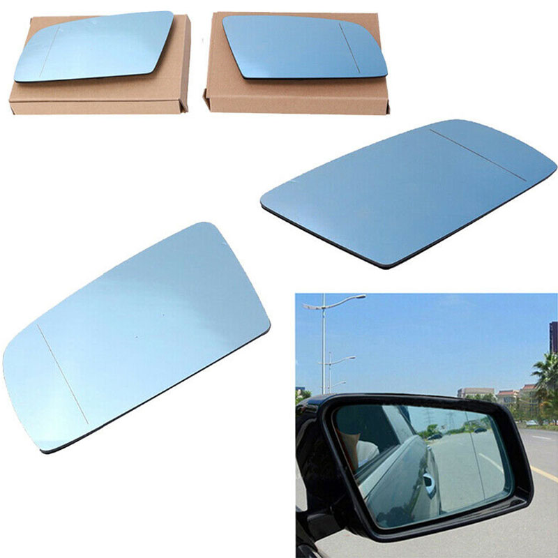 1Pair Car Sides Blue Heated Electric Wings Mirror Glass High Definition ABS Aluminized For BMW 5 E60 E61 2003 2009 Mirrors in Mirror Covers from Automobiles Motorcycles