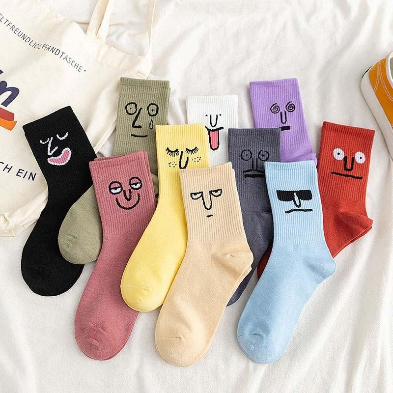 Korea Funky Harajuku Trend Women Colorful Funny Socks Girl Kawaii Socks Unisex Surprise Mid Women Socks Grimace