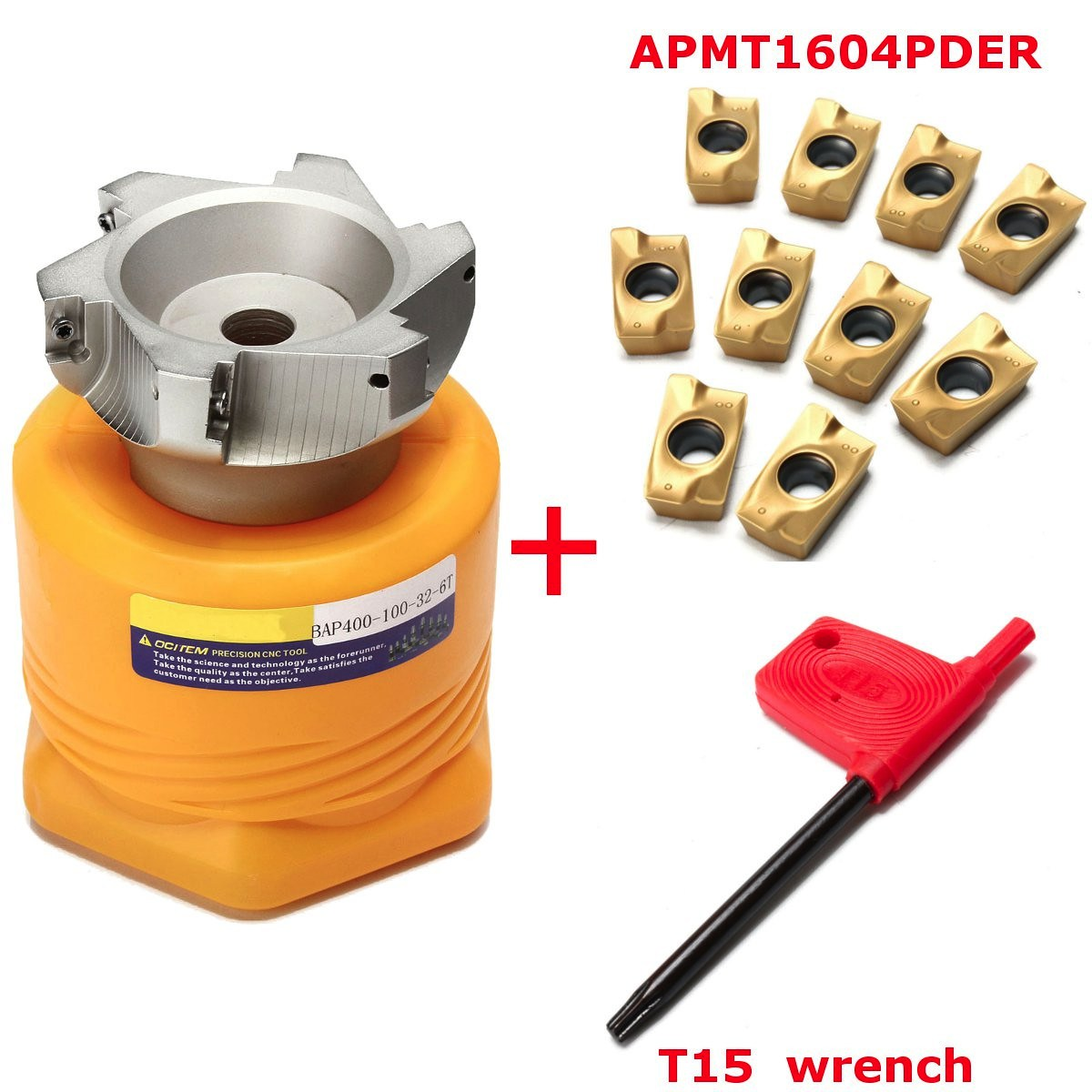 BAP 400R 100 32 6F Wende Drehmaschine Werkzeug Gesicht Fräser + 10 APMT1604PDER Klingen + Wrench