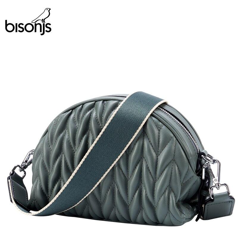 BISONJS Women Bags Genuine Leather Lady Crossbody Bag High Quality Shoulder Bag Messenger Bag For Party B1827