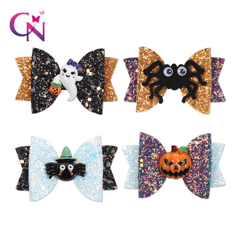 CN Halloween Party Bows Hairgrip Glitter Hair Bows With Clip Dance Party Bow Hair Clip Girls Hairpins Hair Accessories
