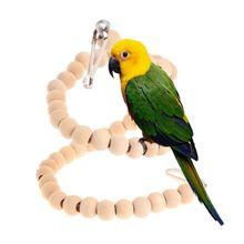 Из натурального дерева товары для птиц попугай волнистый попугай Жевательная спиральная лестница для попугая игрушки качели окунь стенд держатель подвесная клетка