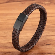Fashion Jewelry Combination Brown Color Leather Stainless Steel Buckle Men Bracelet Hot Selling For Birthday Simple Gift