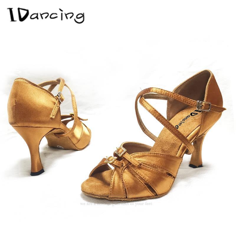 IDancing Dance Shoes Women's Ballroom Salsa Latin Shoes Sneakers Dance Shoes Ballroom Shoes Girls Black  Bronze High Heel