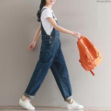 Ретро потертый джинсовый ремень широкие брюки джинсовый комбинезон с пряжками карманы