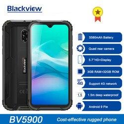 Новое поступление Blackview BV5900 IP68 прочный телефон Android 9,0 пирог, 3 Гб оперативной памяти, 32 Гб встроенной памяти, 5580 мА/ч, Водонепроницаемый мобил...