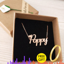 Customized Font Name Charm Necklace Personalized Custom Handwriting Name Plate Pendants Necklaces Link Chain Jewelry Women Gift(China)