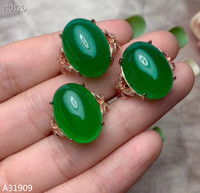 KJJEAXCMY boutique jewelry 925 sterling silver inlaid natural green chalcedony gemstone female ring support test