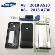 מלא שיכון Case חזרה כיסוי + מסך קדמי זכוכית עדשה + התיכון מסגרת לסמסונג גלקסי A8 2018 SM A530F/DS A8 בתוספת A730F A8 +