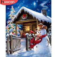 HUACAN Malerei Durch Zahlen Schneemann Weihnachten Bilder Rahmenlose Malen Auf Leinwand Hand Gemalt Öl Zeichnung Malerei DIY Kunst