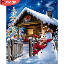 HUACAN Painting By Numbers Snowman Christmas Pictures Frameless Paint On Canvas Hand Painted Oil Drawing DIY Arts