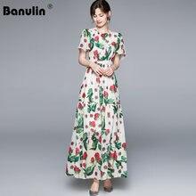 Banulin 2021 D'été Mode Piste Robe De Grande Taille femmes En Mousseline De Soie Imprimé Floral Élégant Boho Fête Maxi Longue Robe N77022