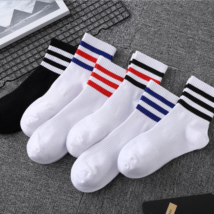 Four Seasons New Three Bars Students In The Tube Men's Socks Striped Sports Socks Men